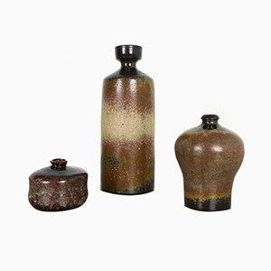 Jarrón alemán de cerámica Studio de Elmar & Elke Kubicek, años 70. Juego de 3