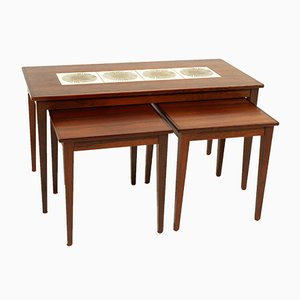 Danish Rosewood & Ceramic Tile Nesting Tables, 1960s