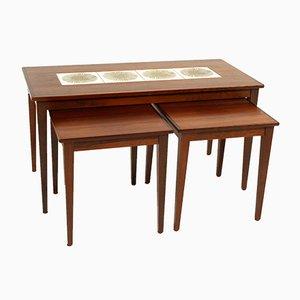 Tavolini ad incastro in palissandro e ceramica, Danimarca, anni '60