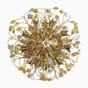 Deckenlampe aus Porzellan in Blumen-Optik von Banci Firenze, 1950er