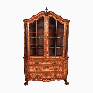 18th-Century Dutch Marquetry Bombe Display Cabinet