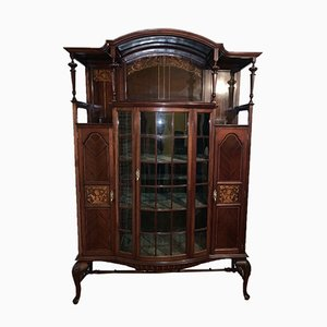 Antique Art Nouveau Inlaid Display Cabinet