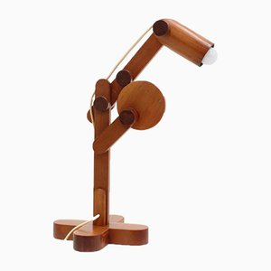 Adjustable Wood Desk Lamp, 1970s