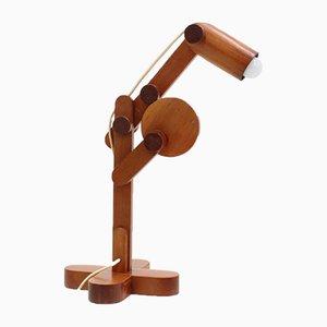 Lámpara de escritorio ajustable de madera, años 70