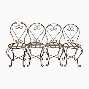 Mid-Century Wrought Iron Garden Chairs, Set of 4