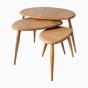 Tables Gigognes en Forme de Galet Mid-Century par Lucian Ercolani pour Ercol, 1960s