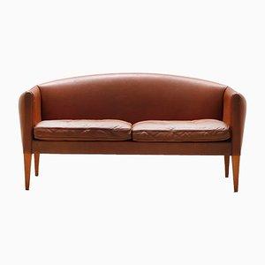 Sofá danés de cuero marrón de Illum Wikkelsø para Holger Christiansen, años 60