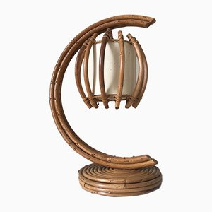 Vintage Rattan Table Lamp, 1960s