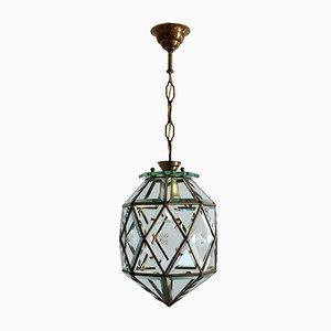 Linterna italiana Mid-Century de latón y cristal tallado, años 50