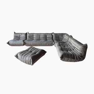 Grey Velvet Togo Living Room Set by Michel Ducaroy for Ligne Roset, 1970s