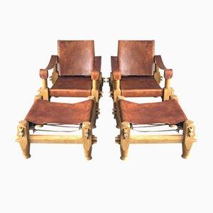 Set da salotto vintage in pelle con due sedie e due poggiapiedi, anni '60