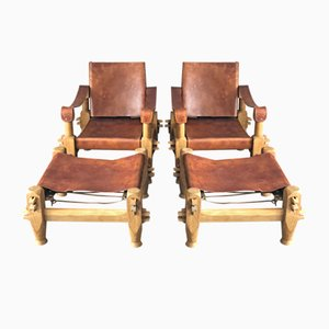 Vintage Leather Lounge Set with 2 Chairs & 2 Ottomans, 1960s