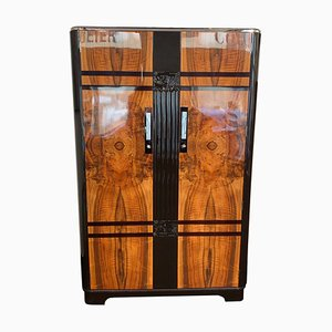 Art Deco Dark Brown Lacquered Walnut Armoire from C.W.S. LTD. Cabinet Factory, 1930s