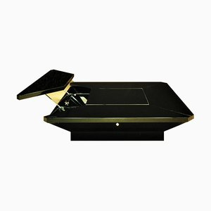Italian Black Lacquered Coclea Cocktail Table by Fabrizio Cocchia for Luigi Sormani, 1980s