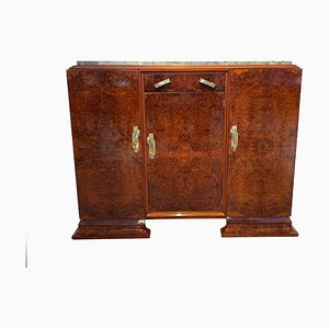 Art Deco French Walnut Root Veneer, Marble & Brass Sideboard, 1930s