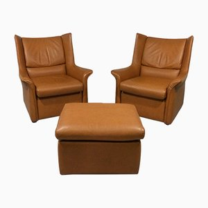 Vintage Leather Lounge Set with 2 Chairs & Ottoman, 1960s
