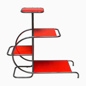 Anaquel Bauhaus alemán de acero tubular rojo y cromado, años 30
