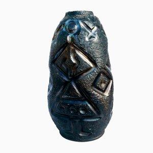 Schwarze Keramikvase von Coperativa OLTUL Miercurea-Ciuc, 1950er