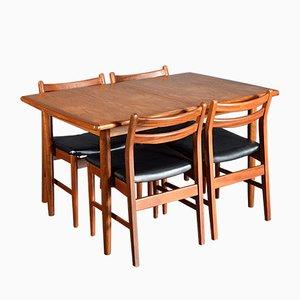 Table de Salle à Manger Extensible et 4 Chaises Mid-Century en Teck de Meredew, 1960s