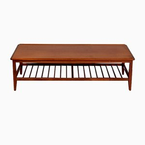 Mid-Century Danish Teak 2-Tier Slatted Coffee Table, 1960s
