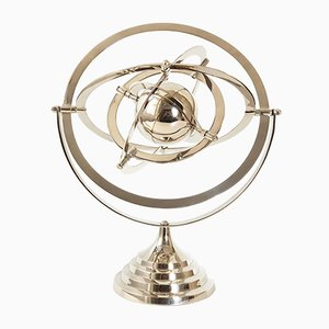 Astrolabio de mesa vintage de acero cromado, años 70