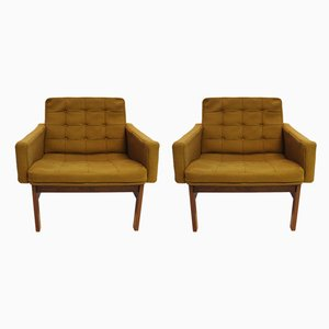 Vintage Green Fabric & Rosewood Easy Chairs by Ole Gjerløv-Knudsen & Torben Lind for France & Søn, 1960s, Set of 2