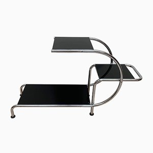 Bauhaus Black & Chromed Tubular Steel Etagere from Thonet, 1930s