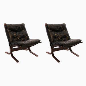 Black Leather Siesta Easy Chairs by Ingmar Relling for Westnofa, 1960s, Set of 2