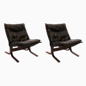 Poltrone Siesta in pelle nera di Ingmar Relling per Westnofa, anni '60, set di 2