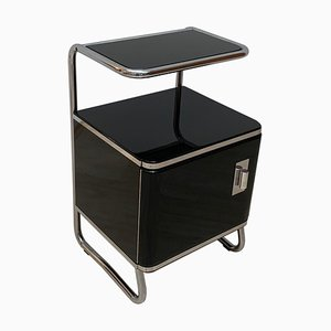 Bauhaus German Black Lacquered & Tubular Steel Nightstand, 1930s