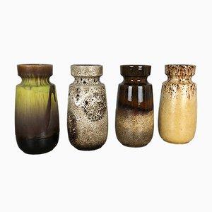 Deutsche Vintage Fat Lava getöpferte 242-22 Vasen von Scheurich, 1970er, 4er Set