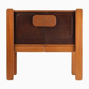 Mueble de nogal y cuero, años 70