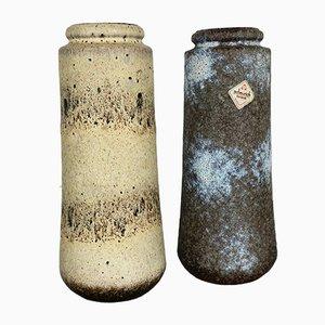 Jarrones 206-26 italianos vintage de cerámica Fat Lava de Scheurich, años 70. Juego de 2