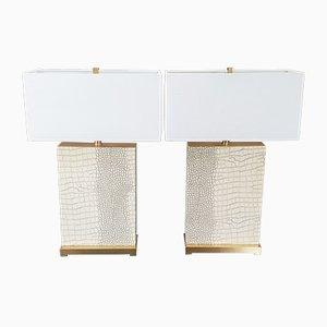 Große Vintage Tischlampen aus Messing & Kunstschlangenhaut, 1970er, 2er Set