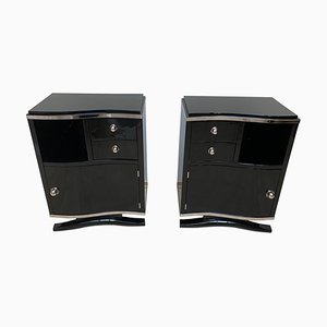 Art Deco French Black Lacquered and Chrome Nightstands, 1930s, Set of 2