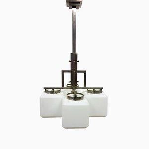 Lámpara de araña francesa Art Déco de latón niquelado, años 20