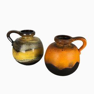 Jarrones modelo 484-21 de cerámica Fat Lava de Scheurich, años 70. Juego de 2