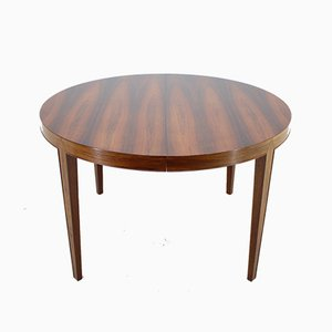 Rosewood Round Extendable Dining Table by Severin Hansen for Haslev Møbelsnedkeri, 1960s