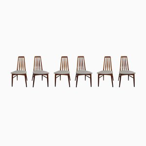 Vintage Eva Teak Dining Chairs by Niels Koefoed for Hornslet Møbelfabrik, 1960s, Set of 6
