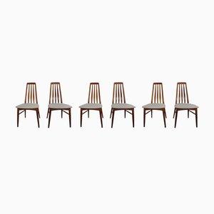 Vintage Eva Teak Dining Chairs by Niels Koefoed for Hornslet Møbelfabrik, 1960s, Set of 6