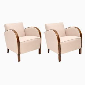 Art Deco Satin Birch Armchairs, 1930s, Set of 2