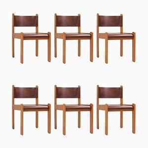 Chaises de Salle à Manger en Chêne et Cuir, 1960s, Set de 6