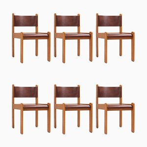 Oak & Leather Dining Chairs, 1960s, Set of 6