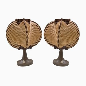 Tischlampen aus Bakelit & Sisal von MK Leuchten, 1970er, 2er Set