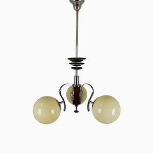 Kronleuchter aus Chrom & Holz im Bauhaus-Stil, 1940er