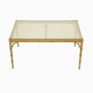 Mesa de centro de vidrio y bambú, años 60