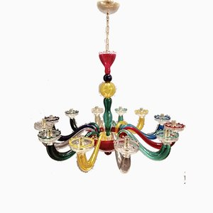 Vintage Serenissima Murano Glass 12-Light Chandelier from Leucos, 1990s