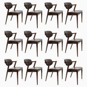 Chaises Modèle 42 en Cuir et Palissandre par Kai Kristiansen pour Schou Andersen, 1960s, Set de 12
