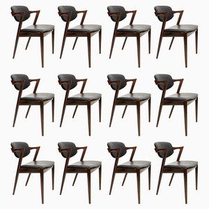 Model 42 Leather & Rosewood Chairs by Kai Kristiansen for Schou Andersen, 1960s, Set of 12