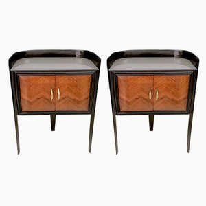 Italian Walnut & Engraved Glass Nightstands by Paolo Buffa, 1950s, Set of 2